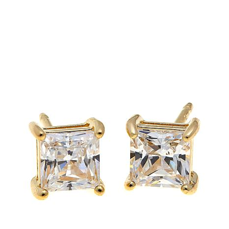 Absolute™ 1ctw CZ Princess 4-Prong Stud Earrings