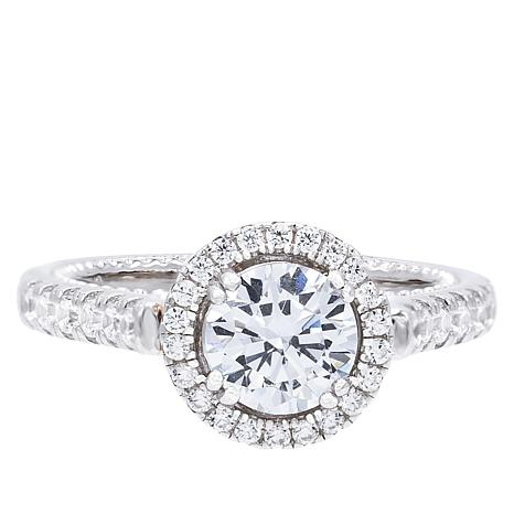 Absolute™ 2-Tone Sterling Silver Cubic Zirconia Pavé Halo Ring