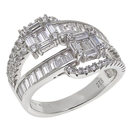 Absolute™ 2.52ctw CZ Sterling Silver Multi-Cut Bypass-Inspired Ring