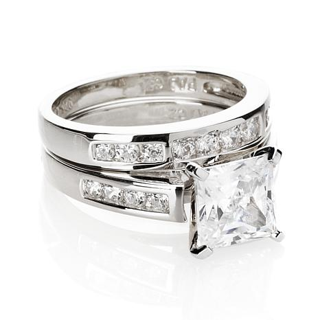 Absolute™ 2.56ctw CZ Princess & Round 2-piece Ring Set