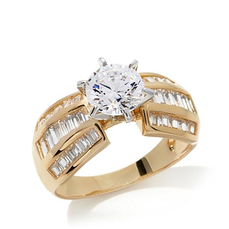 Absolute™ 2.5ctw Baguettes and Round CZ Ring