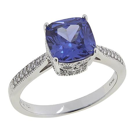 Absolute™ 2.75ctw CZ Tanzanite-Color and Clear Milgrain Ring