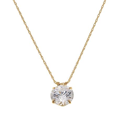 """Absolute™ 2ctw CZ 14K Round Solitaire Pendant with 18"""" Chain"""