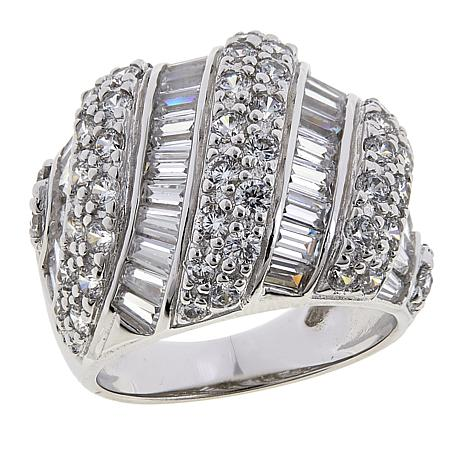 Absolute™ 3.18ctw CZ Sterling Silver Round and Baguette Dome Ring