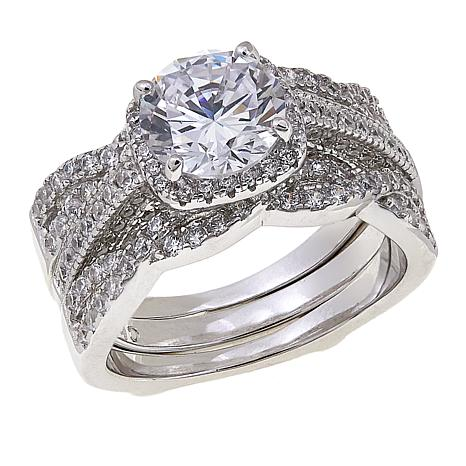 Absolute™ 3.26ctw CZ Round with Twist Sides 2-piece Guard Ring Set