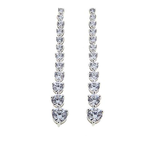 Absolute™ 3.28ctw CZ Sterling Silver Round Stone Linear Drop Earrings