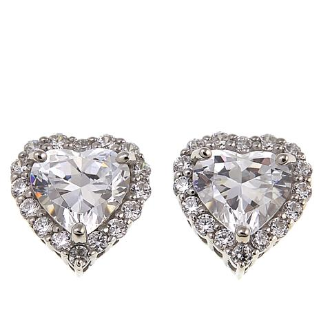 Absolute™ 3.48ctw Cubic Zirconia Sterling Silver Heart Stud Earrings