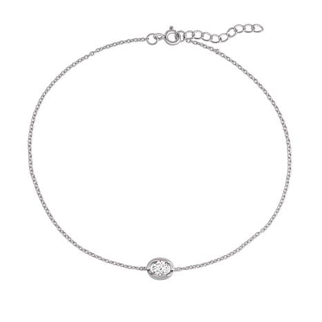 Absolute™ .35ctw CZ Sterling Silver Round Station Anklet