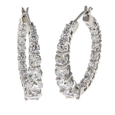 Absolute™ 3.96ctw CZ Tapered Inside-Outside Hoop Earrings
