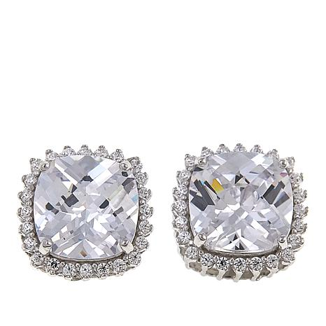 Absolute™ 5.24ctw CZ Sterling Silver 8mm Cushion Halo Stud Earrings