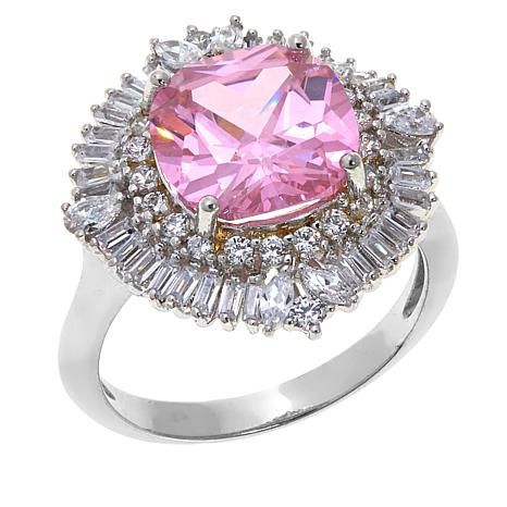 Absolute™ 5.31ctw CZ and Simulated Pink Sapphire Ring