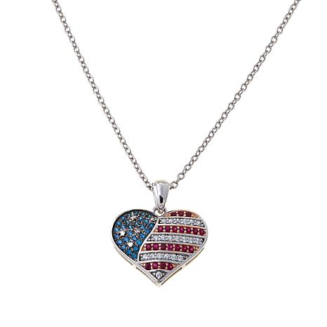 Absolute™ .58ctw CZ Red, White and Blue Heart Pendant
