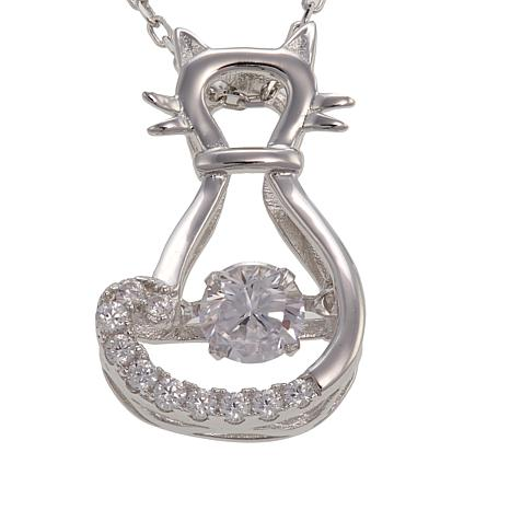 "Absolute™ .62ctw Dancing CZ Cat Pendant with 18"" Chain"