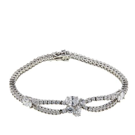 Absolute™ 7.18ctw CZ Sterling Silver Round Stone Oval Line Bracelet