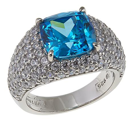 Absolute™ 7.58ctw CZ Blue and Clear CZ Square Pavé Dome Ring