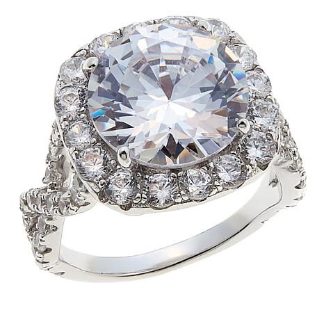 Absolute™ 8.16ctw CZ Sterling Silver Round with Twist Sides Ring