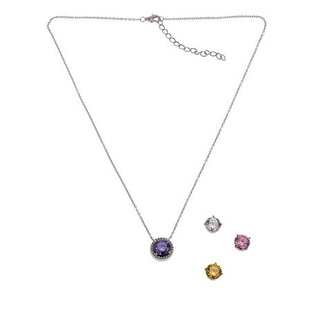 Absolute™ 8.19ctw Clear and Colored CZ Interchangeable Drop Necklace