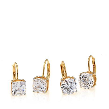 Absolute™ 8ctw Asscher- and Round-Cut CZ Earrings Set