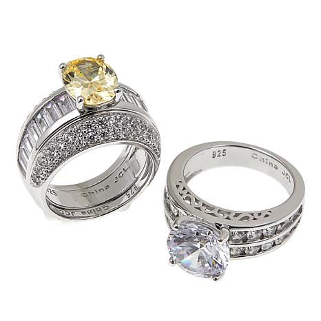 Absolute™ 9.08ctw Canary and Clear Cubic Zirconia 3pc Ring Guard Set