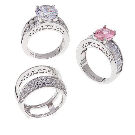 Absolute™ 9.08ctw Pink and Clear 3pc Ring Guard Set