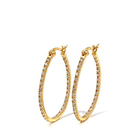 Absolute™ .99ctw Cubic Zirconia Pavé Oval Hoop Earrings