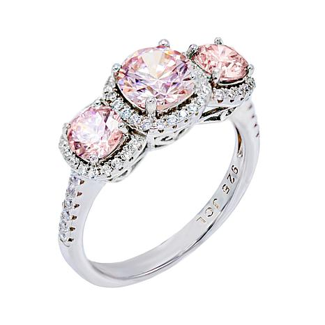 Absolute™ Colored and Clear Cubic Zirconia 3-Stone Halo Ring