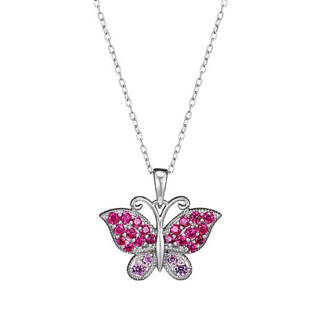 Absolute™ Created Pink and Red Sapphire Butterfly Pendant