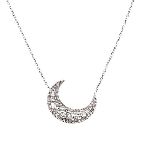 Absolute™ Cubic Zirconia Baguette and Round Symbol Drop Necklace