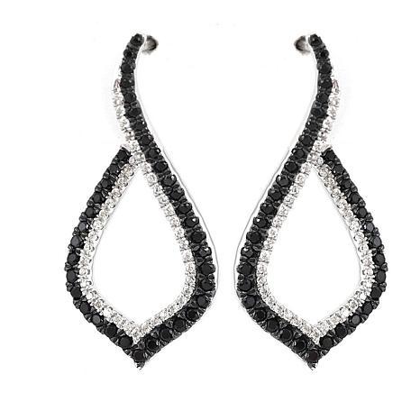 Absolute™ Cubic Zirconia Black and Clear Kite-Shaped Hoop Earrings