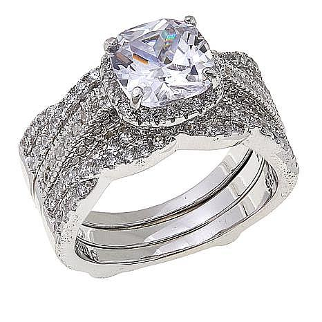 Absolute™ Cubic Zirconia Cushion with Twist Sides 2pc Guard Ring Set