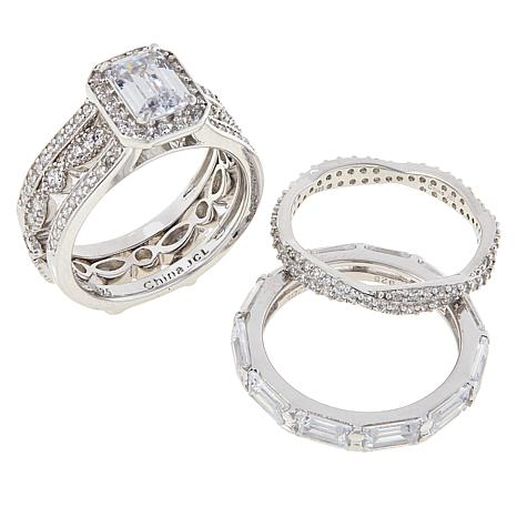 Absolute™ Cubic Zirconia Emerald-Cut and Round Guard Ring 4-piece Set