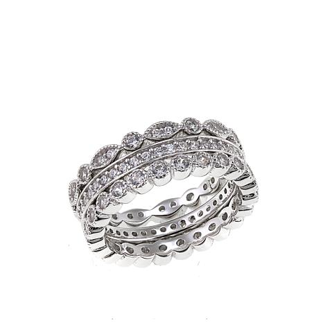 Absolute™ Cubic Zirconia Multi-Cut 3-piece Eternity Ring Set