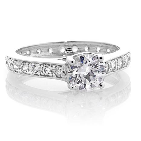 Absolute™ Cubic Zirconia Sterling Silver Round Solitaire Eternity Ring