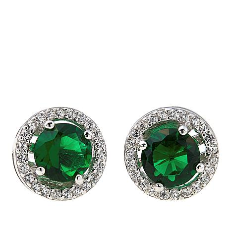 Absolute Cubic Zirconia And Simulated Emerald Sterling Silver Halo Stud Earrings