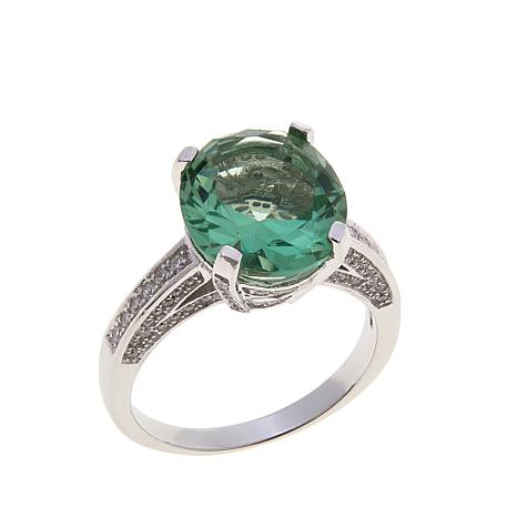 Absolute™ CZ and Simulated Green Amethyst Ring
