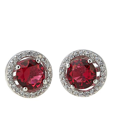 6239f1683 Absolute™ Cubic Zirconia and Simulated Ruby Sterling Silver Halo Stud  Earrings - 8551869 | HSN