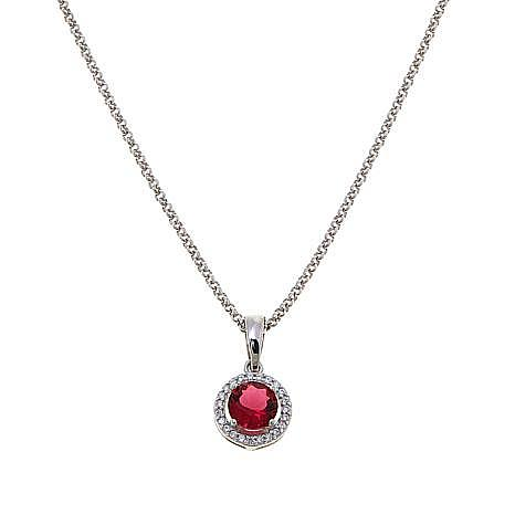 Absolute™ CZ and Simulated Ruby Sterling Silver Halo Pendant