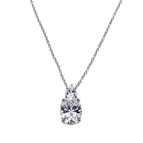 """Absolute™ CZ Oval and Multi-Shape Pendant with 18"""" Chain"""