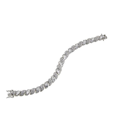 Absolute™ CZ Sterling Silver Round and Baguette San Marco Bracelet