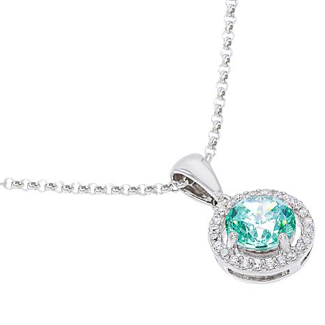 Absolute™ Simulated Colored Gemstone Halo Pendant with Chain