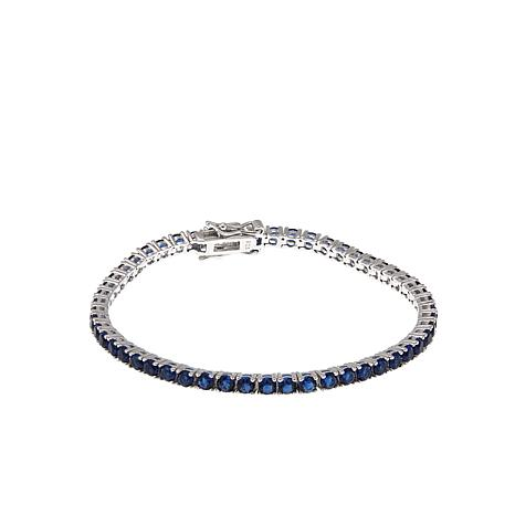 """Absolute™ Simulated Sapphire Sterling Silver 7"""" Line Bracelet"""