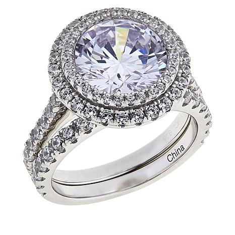 Absolute™ Sterling Silver Cubic Zirconia 2-piece Halo Ring Set