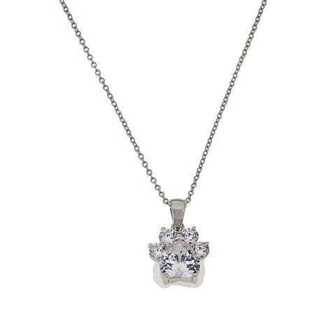 Absolute™ Sterling Silver Cubic Zirconia Dog Paw Print Pendant