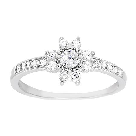 Absolute™ Sterling Silver Cubic Zirconia Floral Band Ring