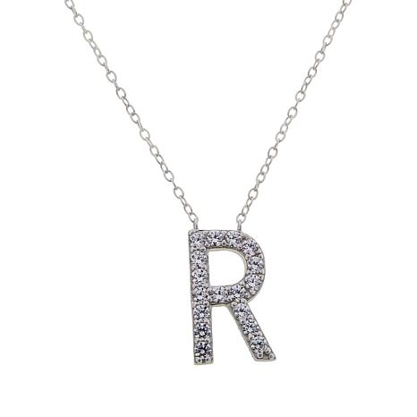 Absolute™ Sterling Silver Cubic Zirconia Pavé Initial Pendant Necklace