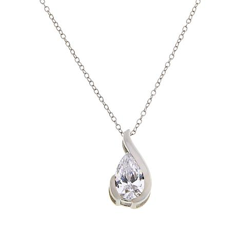 Absolute™ Sterling Silver Cubic Zirconia Pear-Shaped Drop Pendant