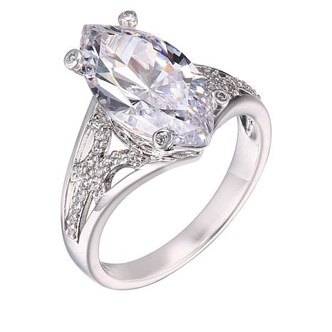 Absolute™ Sterling Silver Marquise and Round Open Shank Ring