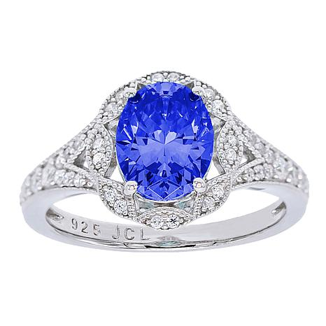 Absolute™ Sterling Silver Simulated Tanzanite Oval Engagement Ring