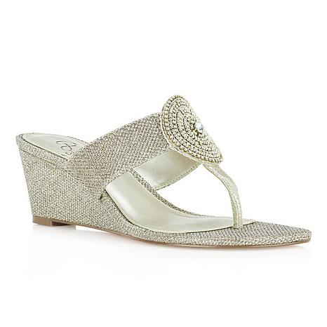 6acf8d0e6 Adrianna Papell Casey Embellished Thong Wedge Sandal - 8901571