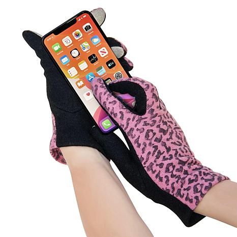 Aduro 2-Pack Cheetah Print Touchscreen Smart Gloves - Small/Medium
